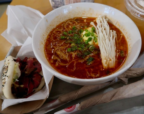 One of those little finds we stumbled upon on the close to the Intrepid Museum. Chili pork ramen, with a starter of a pastrami bun and plum tea. So YUM.