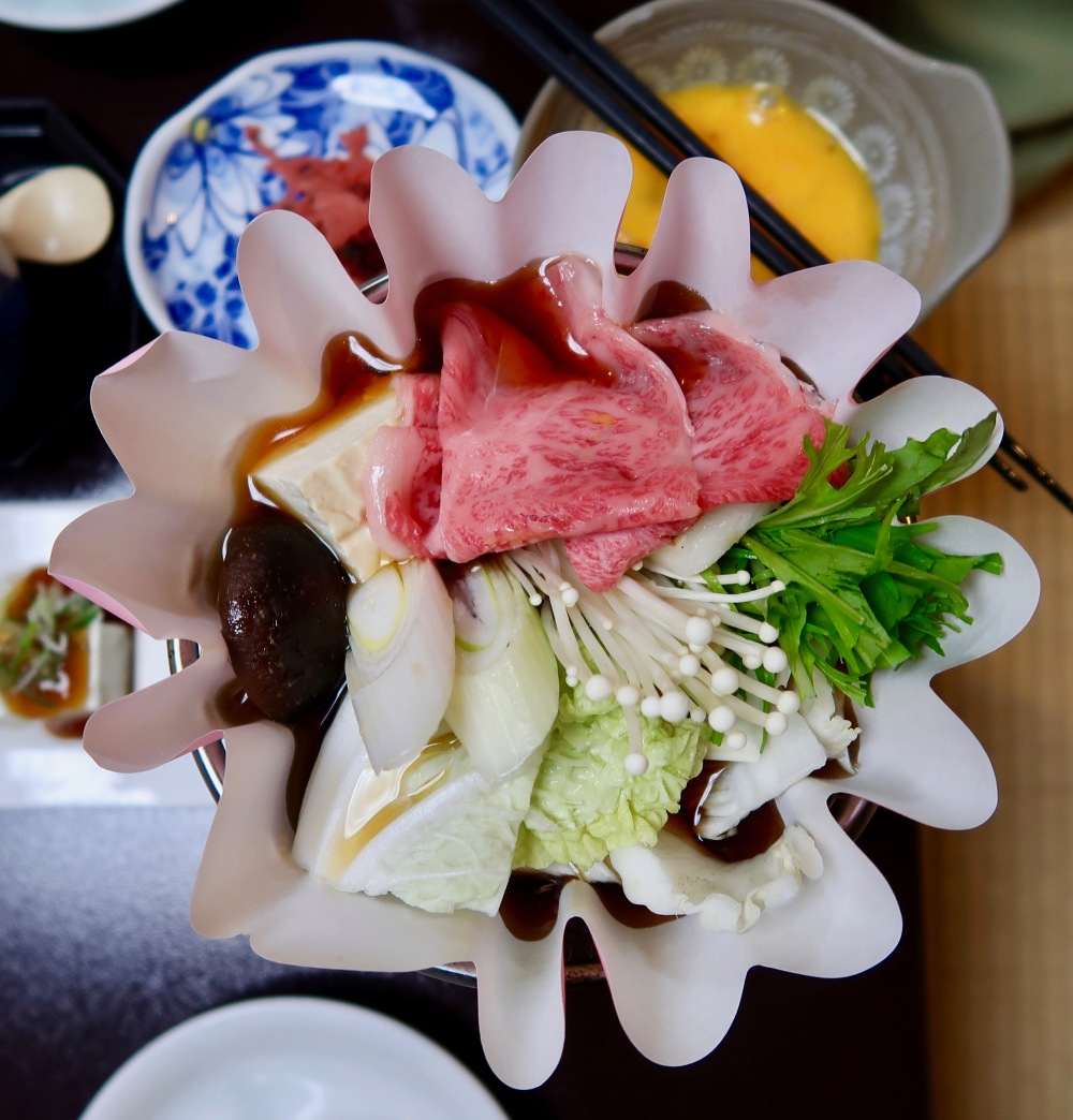 Sukijaki - cooked at the table and dipped in raw egg