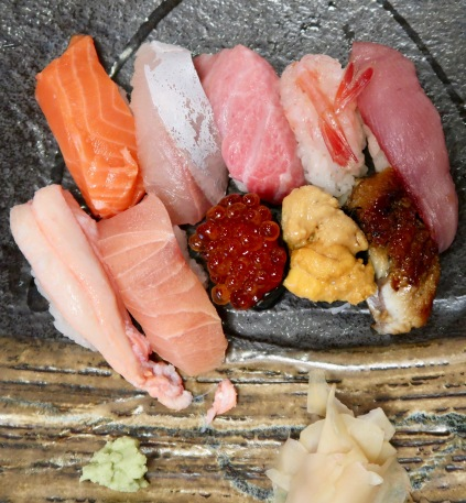 Sushi for lunch included salmon, white fish, fatty tuna, prawn, young tuna, crab, sword fish, salmon roe, urchin, and eel.