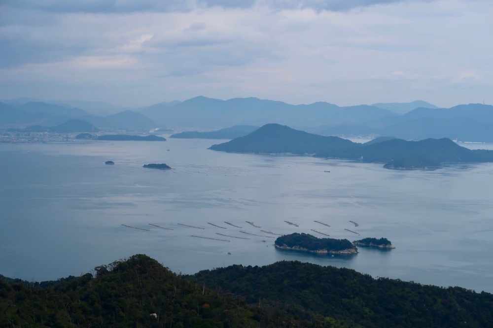 View with oyster farming surrounding the islands