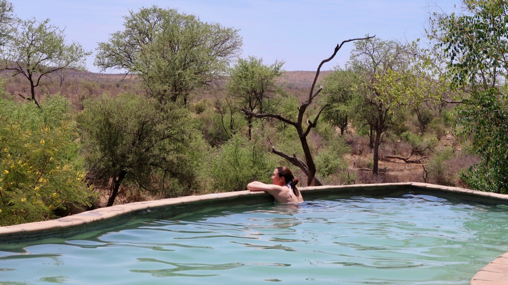 A relaxing moment in the pool overlooking the bush.